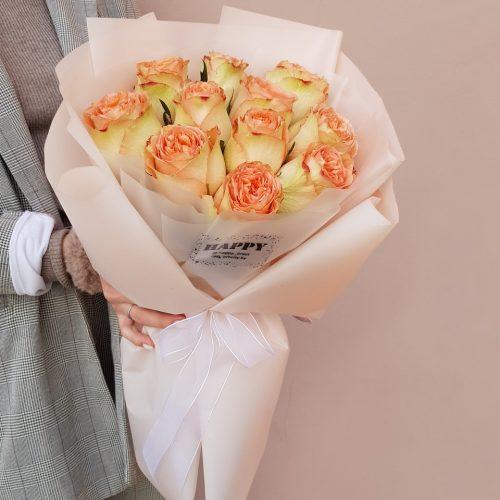 Моно букет из 11 пионовидных роз №140